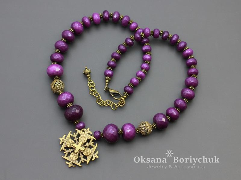 "Ожерелье ""Фиолетовые чары""  Жадеит, ажурные бусины и Борийчук Оксана - фото 1"