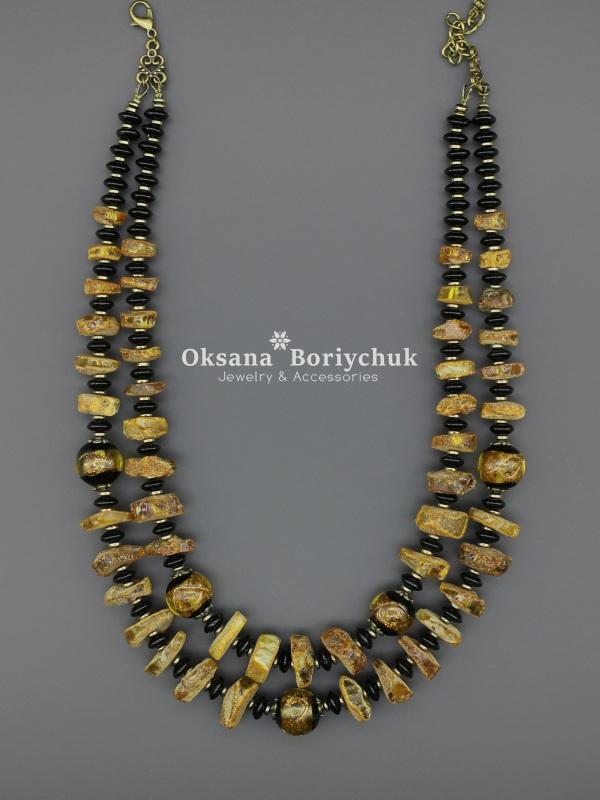 Ожерелье «Солнечные кларнеты»  Натуральный агат, янтарь, Борийчук Оксана - фото 3