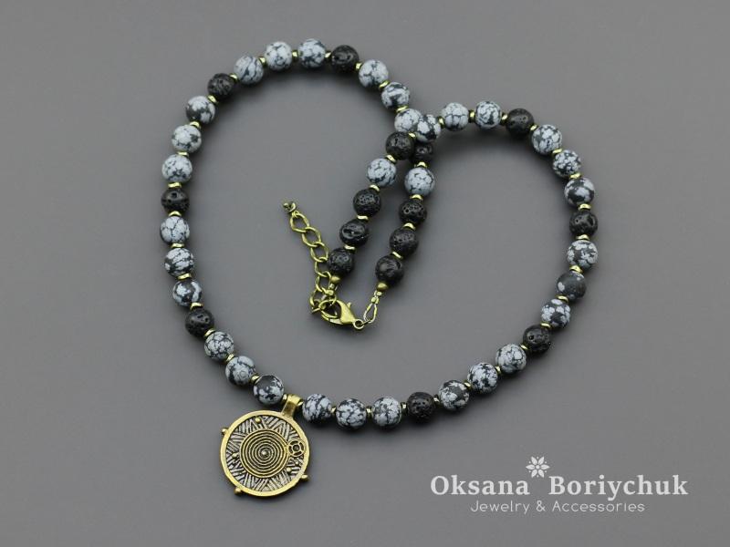 "Ожерелье ""Морозная ночь""  Шунгит, морозный обсидиан Борийчук Оксана - фото 1"
