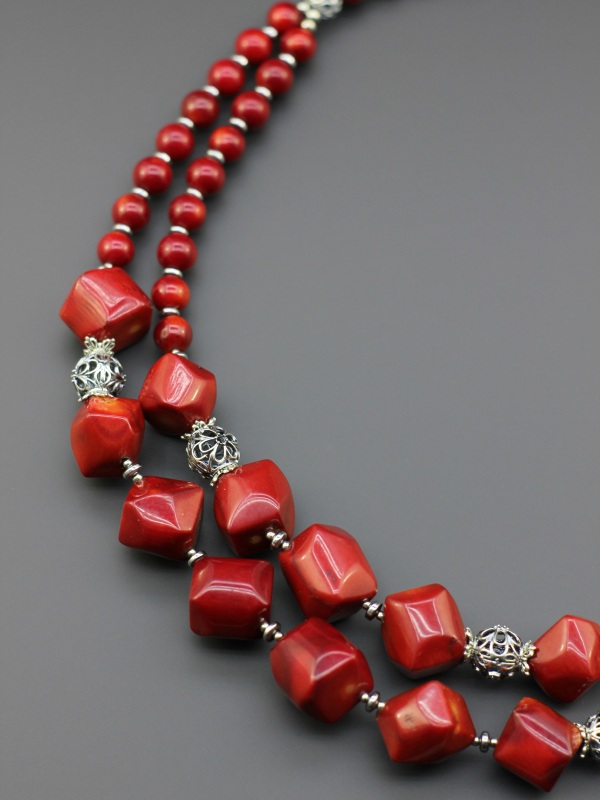 "Ожерелье ""Цветущий барбарис""  Натуральный коралл, тонир Борийчук Оксана - фото 3"