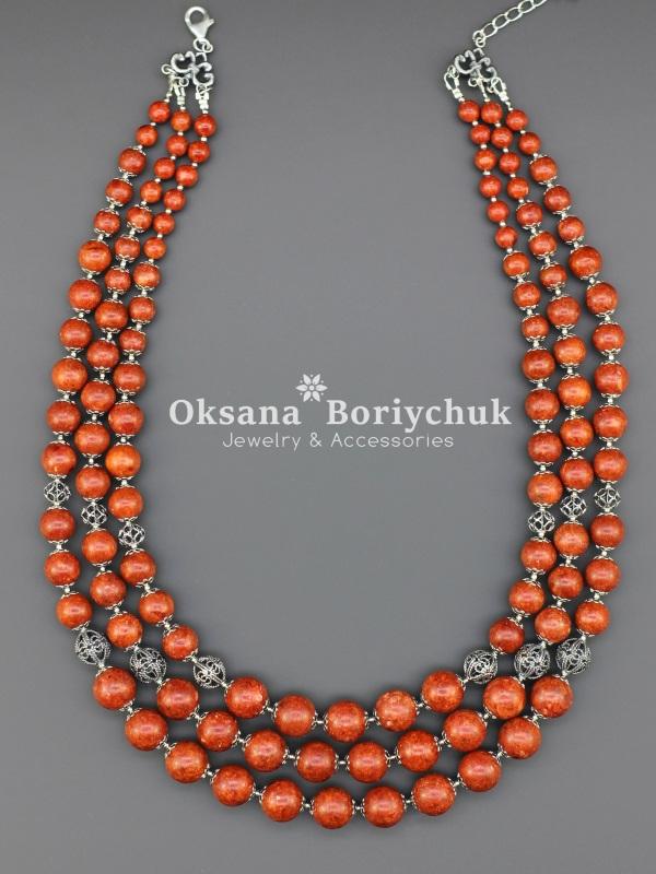 """Ожерелье """"Коралловый дивоцвет""""  Коралл, ажурные бусины и Борийчук Оксана - фото 2"""