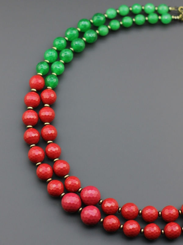"Ожерелье ""Гуцульский танец""  Прессованный коралл, тони Борийчук Оксана - фото 3"