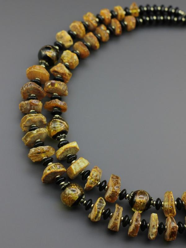 Ожерелье «Солнечные кларнеты»  Натуральный агат, янтарь, Борийчук Оксана - фото 2