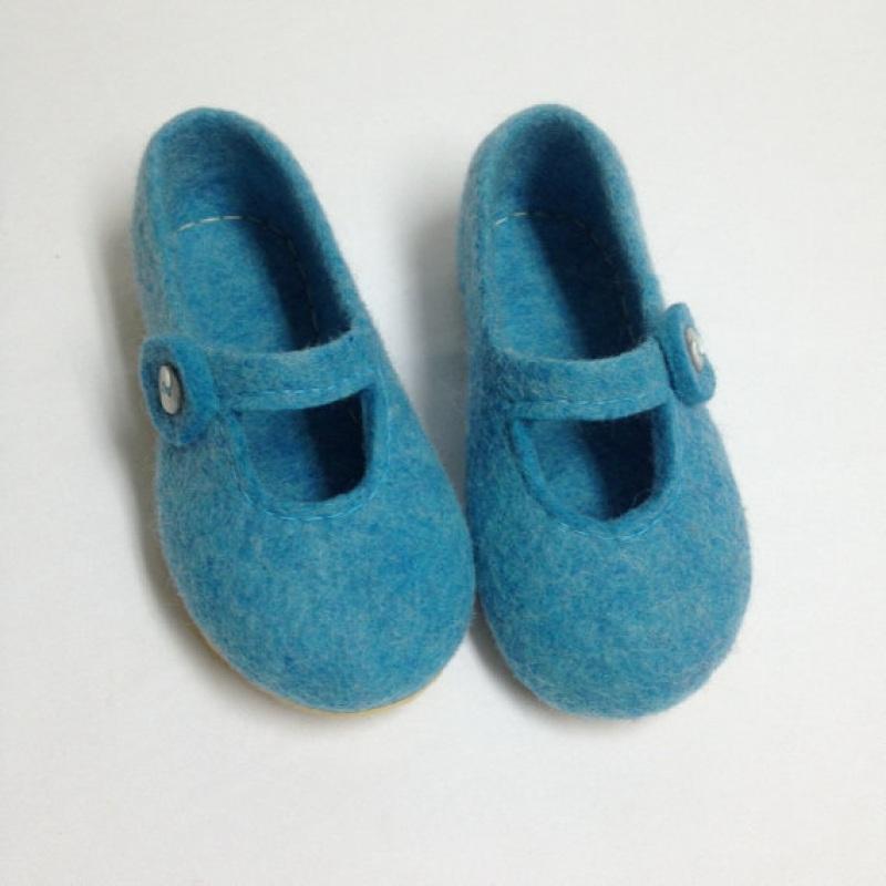Домашние тапочки детские Голубой Овечья шерсть, подошва ми Иваненко Юлия - фото 4
