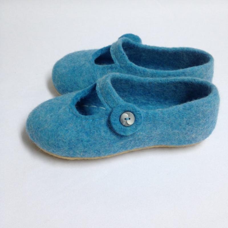 Домашние тапочки детские Голубой Овечья шерсть, подошва ми Иваненко Юлия - фото 2
