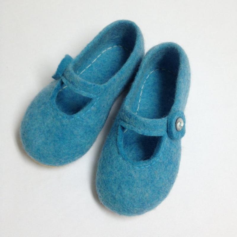 Домашние тапочки детские Голубой Овечья шерсть, подошва ми Иваненко Юлия - фото 3