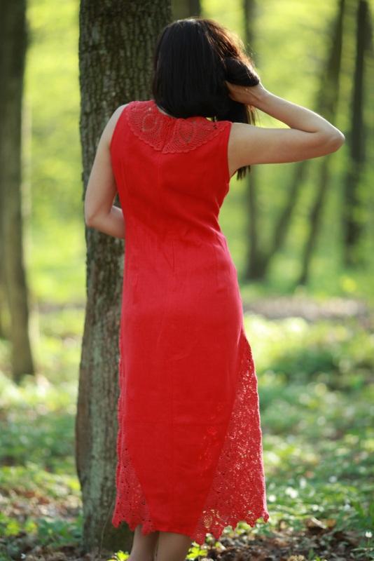 Платье Ч 7125 Красный 100% лен + кружево ручной Chichka - фото 2