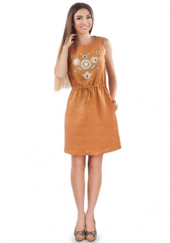 Платье СЛ-151 Оранжевый 100% лен Chichka - фото 1