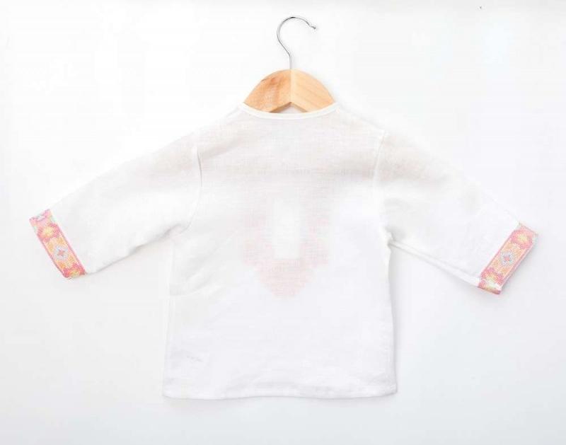 Рубашка детская СБ-022 Белый 100% лен Chichka - фото 3