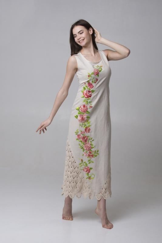 Платье Ч 7315 Белый 100% лен + кружево ручной Chichka - фото 1