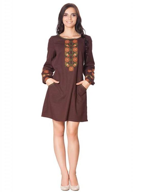 Платье СЛ-136 Коричневый 55% лен + 45% вискоза Chichka - фото 1