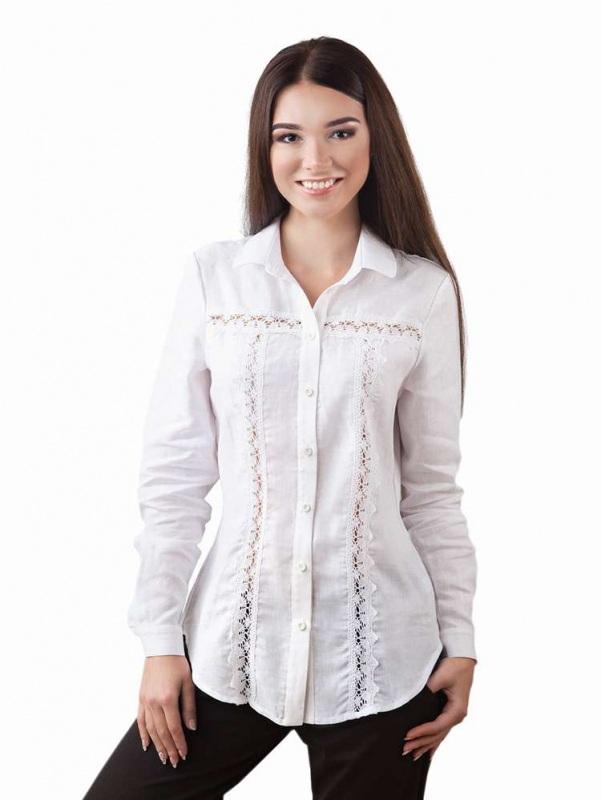 Блузы БЛ-191 Белый 100% лен + натуральное кр Chichka - фото 1
