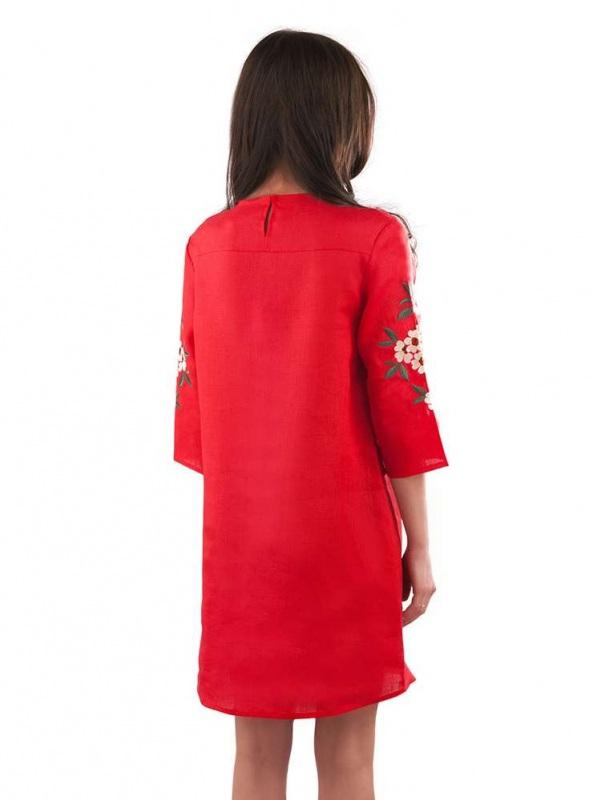 Платье СЛ-162 Красный 100% лен Chichka - фото 4