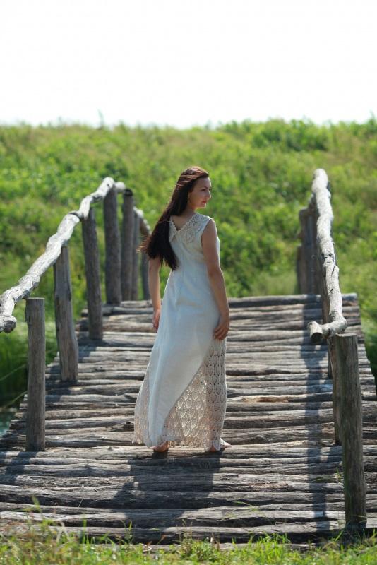 Платье Ч 7057 Белый 100% лен + кружево ручной Chichka - фото 3