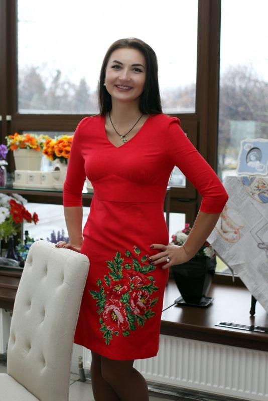 Платье Ч 7075 Красный Лен-хлопок Chichka - фото 1