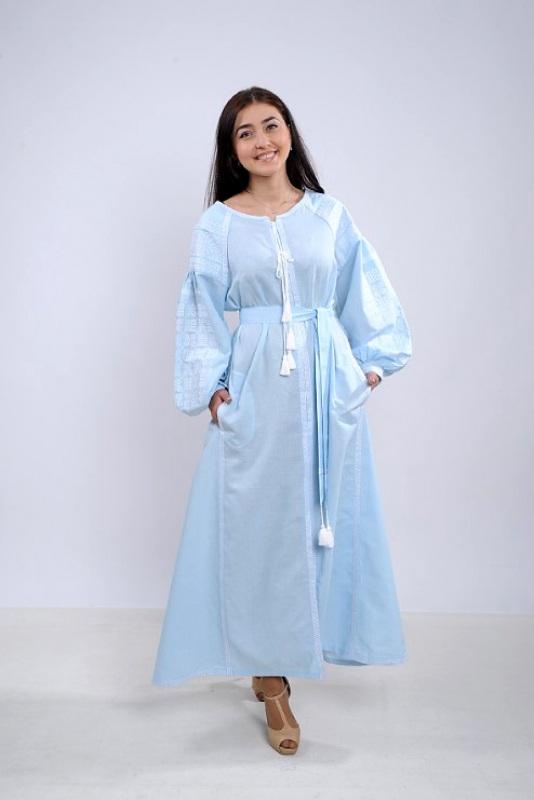 Платье Ч 7251 Голубой 100% лен Chichka - фото 1
