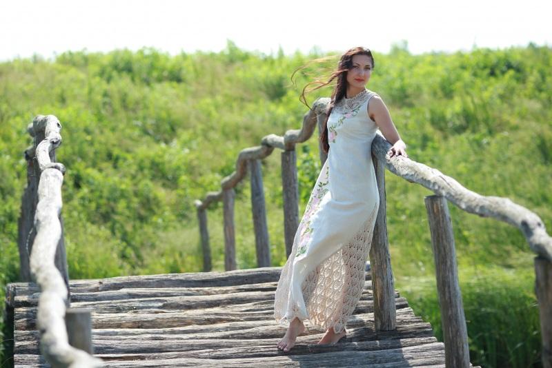 Платье Ч 7057 Белый 100% лен + кружево ручной Chichka - фото 5