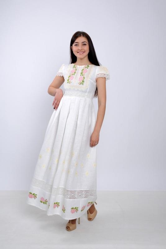 Платье Ч 7256 Белый 100% лен + натуральное кр Chichka - фото 1