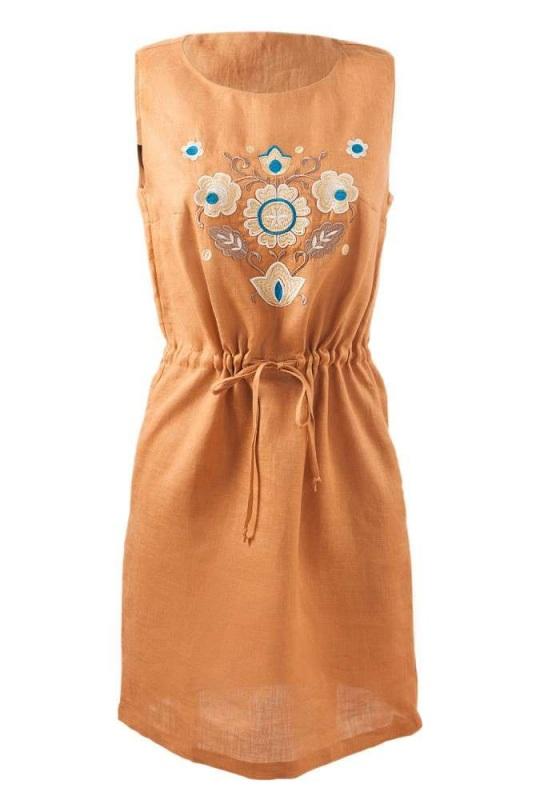 Платье СЛ-151 Оранжевый 100% лен Chichka - фото 2