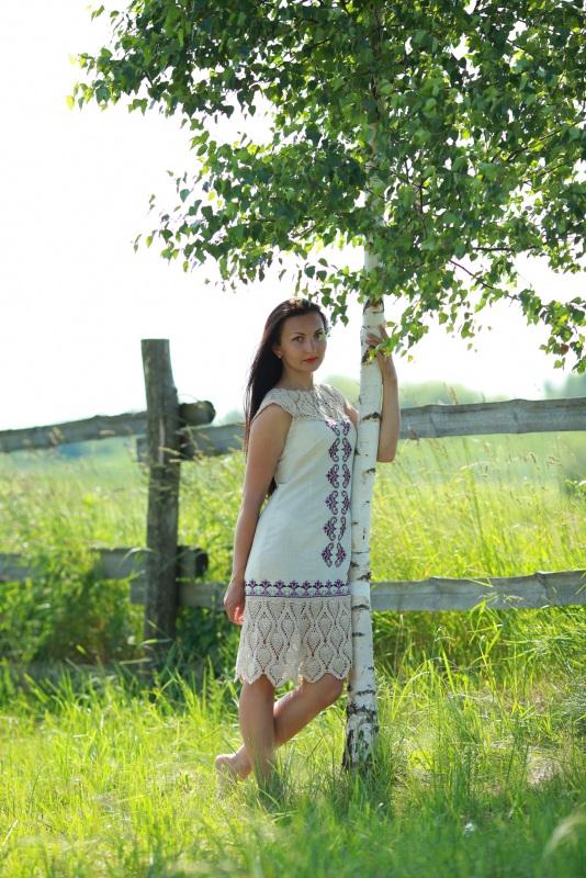 Платье Ч 7058 Белый 100% лен + кружево ручной Chichka - фото 6