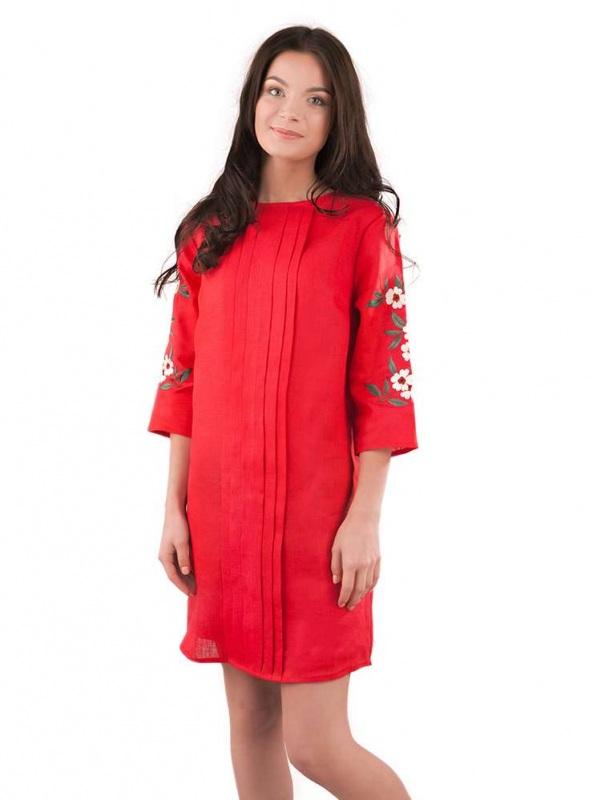 Платье СЛ-162 Красный 100% лен Chichka - фото 1