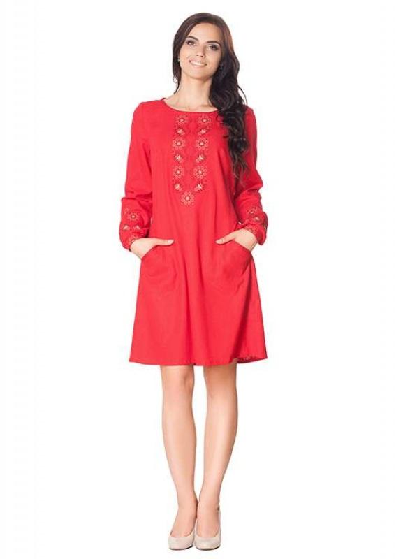 Платье СЛ-136 Коричневый 55% лен + 45% вискоза Chichka - фото 3