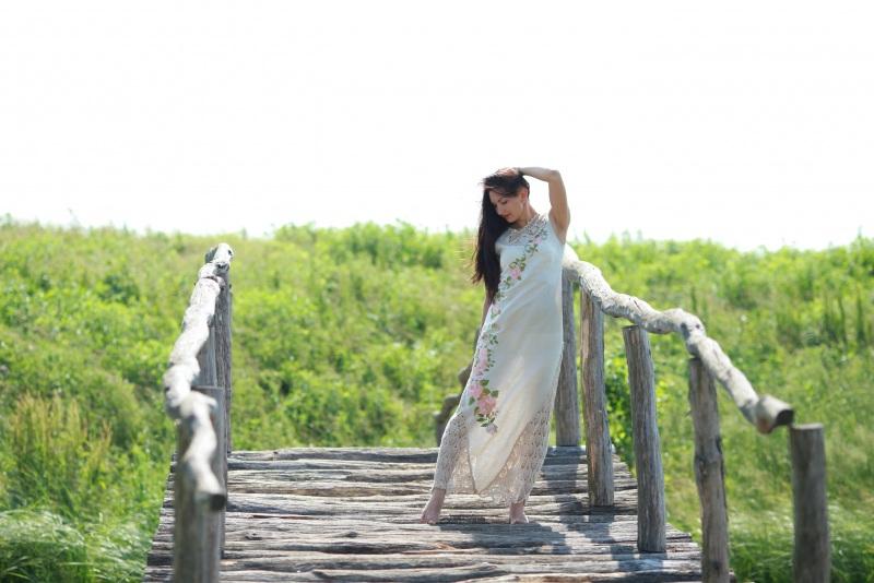 Платье Ч 7057 Белый 100% лен + кружево ручной Chichka - фото 4