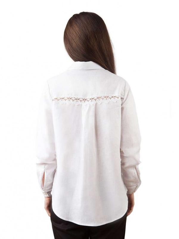Блузы БЛ-191 Белый 100% лен + натуральное кр Chichka - фото 2