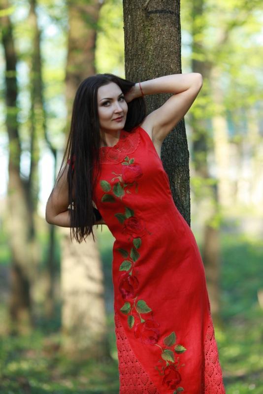 Платье Ч 7125 Красный 100% лен + кружево ручной Chichka - фото 3