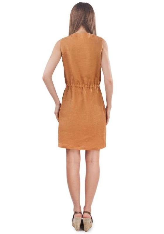 Платье СЛ-151 Оранжевый 100% лен Chichka - фото 3