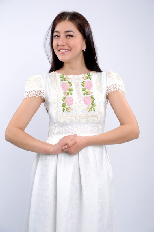 Платье Ч 7256 Белый 100% лен + натуральное кр Chichka - фото 2