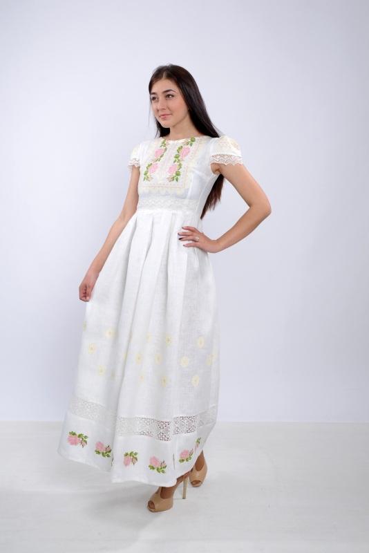Платье Ч 7256 Белый 100% лен + натуральное кр Chichka - фото 6