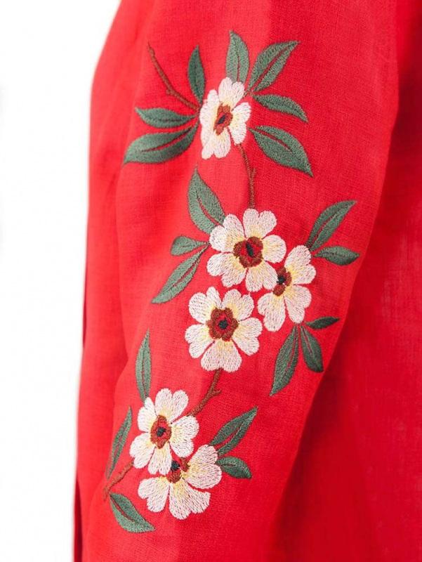 Платье СЛ-162 Красный 100% лен Chichka - фото 2