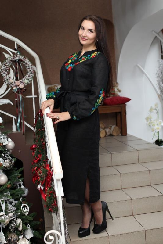 Платье Ч 7077 Черный 100% лен Chichka - фото 2