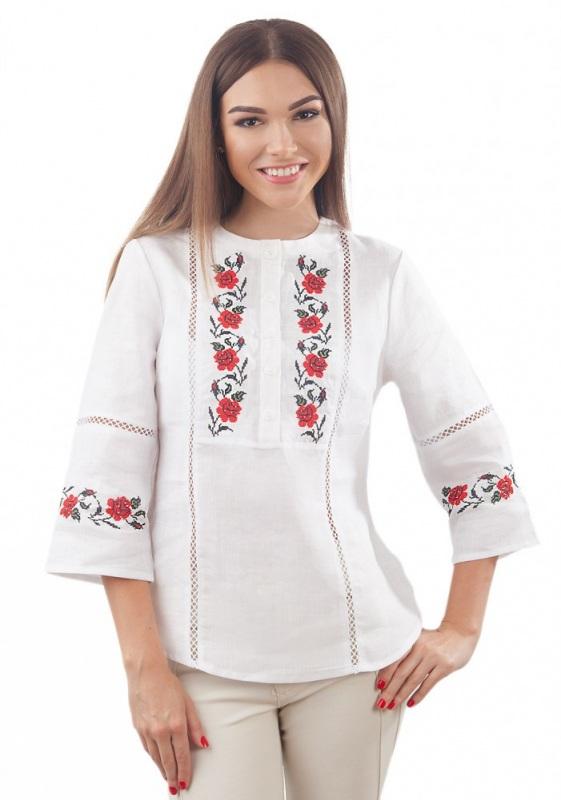 Рубашка Бл-193 Белый 100% лен Chichka - фото 1