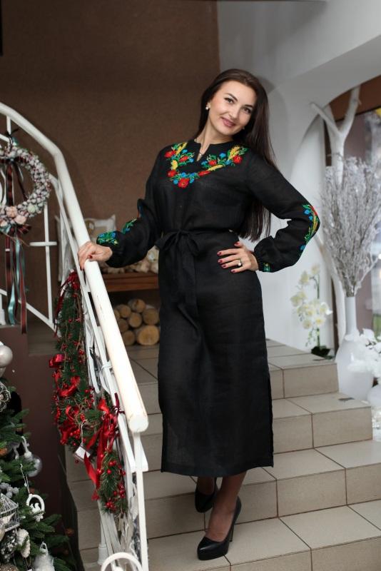 Платье Ч 7077 Черный 100% лен Chichka - фото 1
