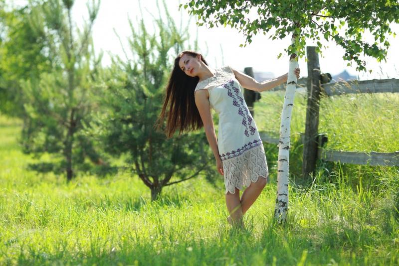 Платье Ч 7058 Белый 100% лен + кружево ручной Chichka - фото 5