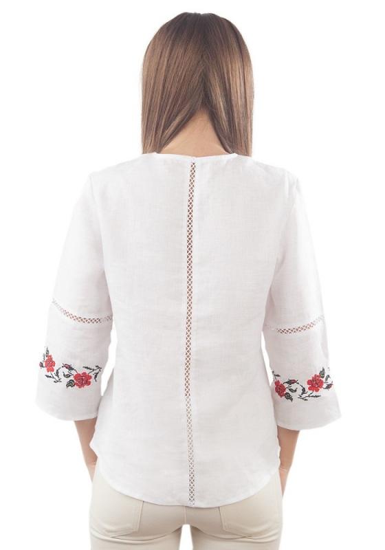 Рубашка Бл-193 Белый 100% лен Chichka - фото 3
