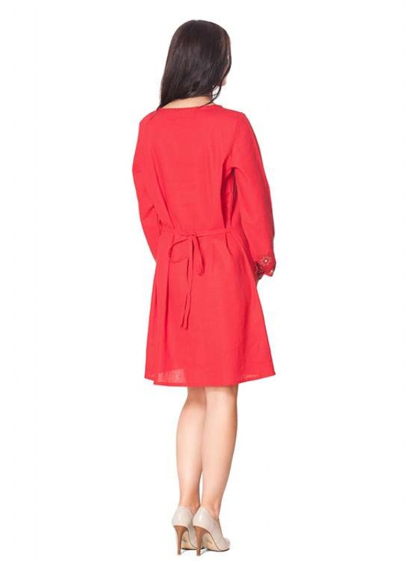 Платье СЛ-136 Коричневый 55% лен + 45% вискоза Chichka - фото 2