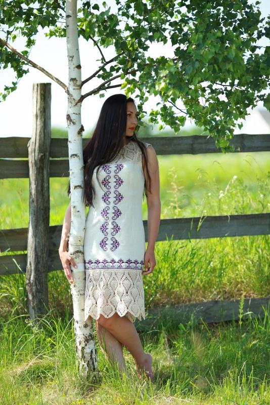 Платье Ч 7058 Белый 100% лен + кружево ручной Chichka - фото 1