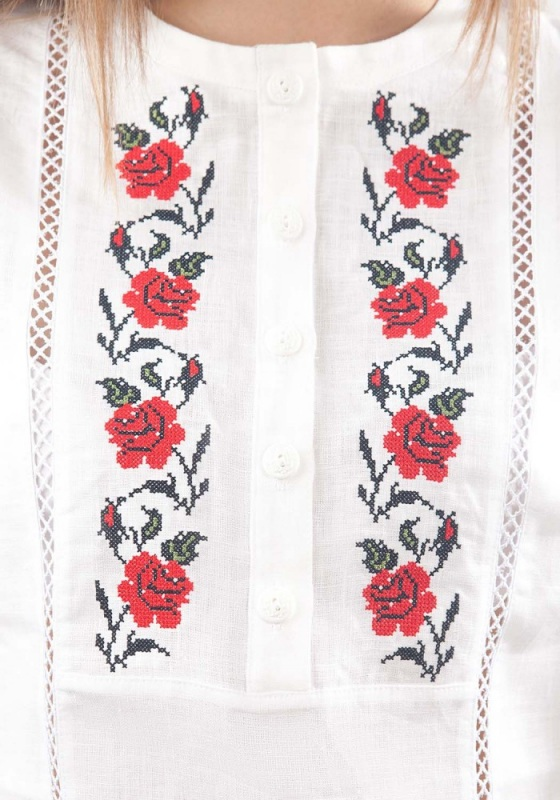 Рубашка Бл-193 Белый 100% лен Chichka - фото 2