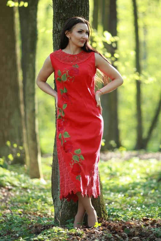 Платье Ч 7125 Красный 100% лен + кружево ручной Chichka - фото 1
