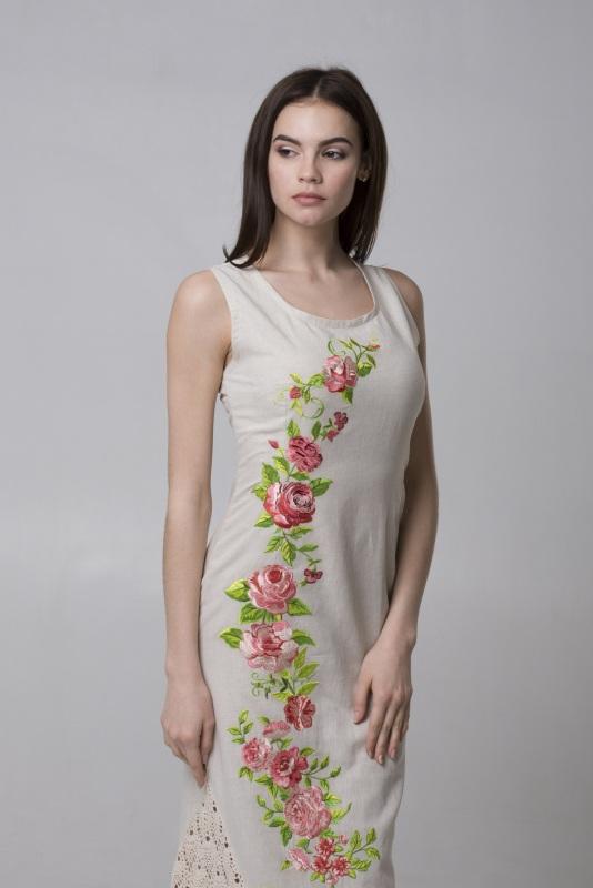 Платье Ч 7315 Белый 100% лен + кружево ручной Chichka - фото 2
