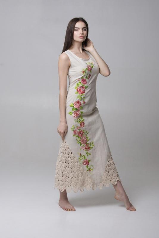 Платье Ч 7315 Белый 100% лен + кружево ручной Chichka - фото 3
