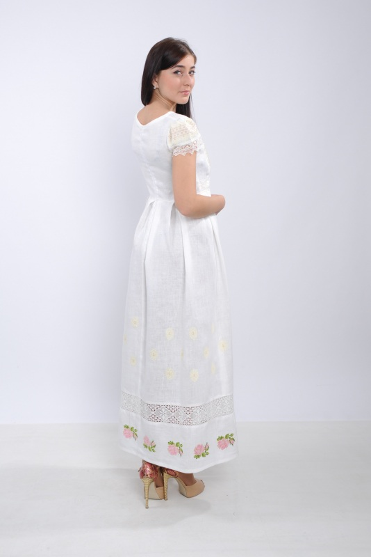 Платье Ч 7256 Белый 100% лен + натуральное кр Chichka - фото 3