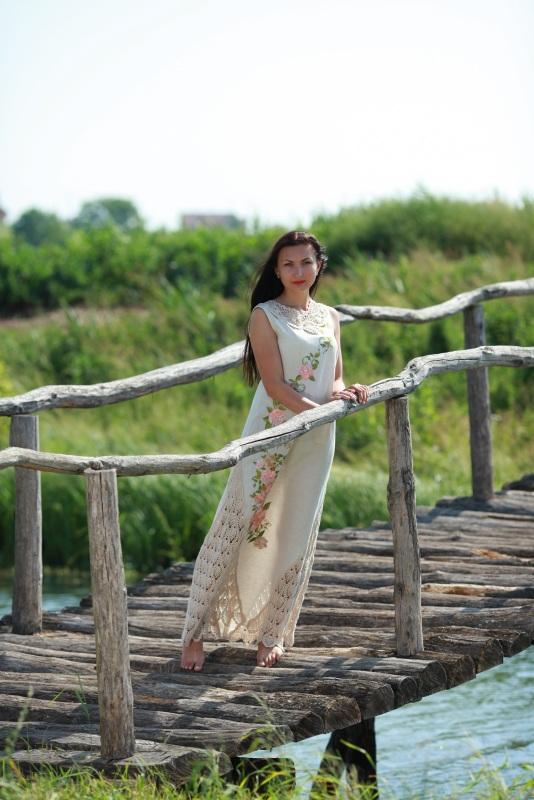 Платье Ч 7057 Белый 100% лен + кружево ручной Chichka - фото 2