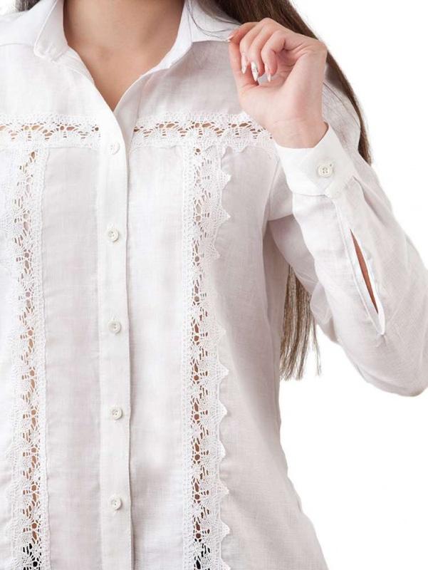 Блузы БЛ-191 Белый 100% лен + натуральное кр Chichka - фото 3
