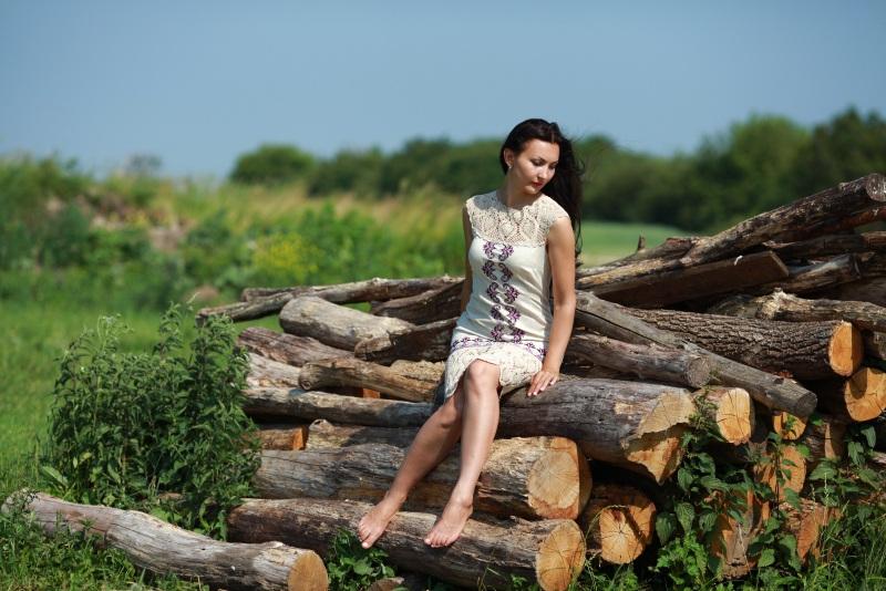 Платье Ч 7058 Белый 100% лен + кружево ручной Chichka - фото 2