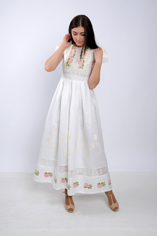 Платье Ч 7256 Белый 100% лен + натуральное кр Chichka - фото 7