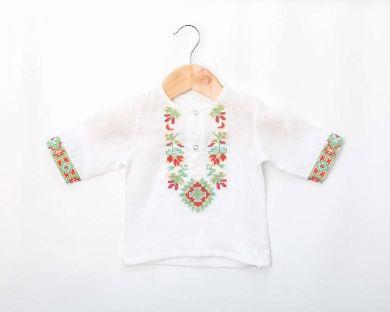 Рубашка детская СБ-022 Белый 100% лен Chichka - фото 1